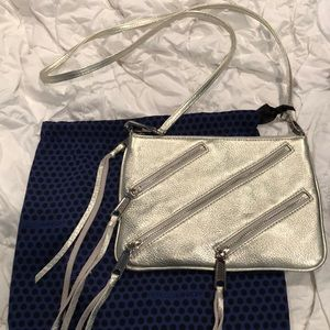 Rebecca Minkoff silver multi zipper crossbody bag
